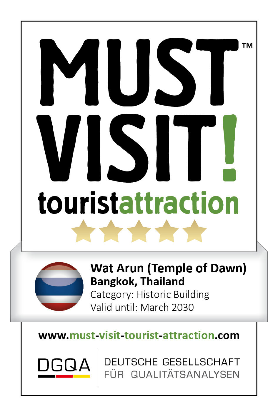 MUST VISIT! tourist attraction (dgqa) wat arun temple of dawn bangkok